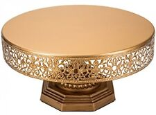 'Victoria Collection' Round Metal Cake Stand, 12' Diameter Top (Gold)