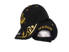Black And Gold Mason Masonic Freemason Feather Eggs Style Cap Hat