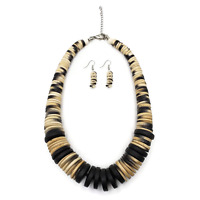 Fashion Wood Necklace Chunky Disk Necklace Wooden Beads Party Jewelry