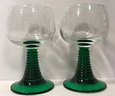 2 Vintage Schott Zwiesel Green Ribbed Stem Glass Wine Goblets Etched Grape White