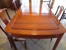Asian Rosewood Dining Table with 8 cushioned chairs, Tea Cart, Double Hutch