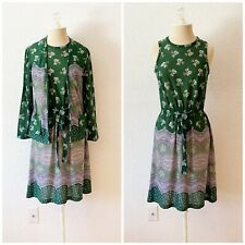 Vintage 60s Sheath Dress Jacket Set Green Floral Casual Sundress S