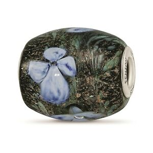 Reflection Beads Sterling Silver HandPaint Hydrangea Moonlight Fenton Glass Bead