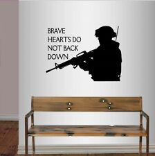 Wall Vinyl Decal Brave Hearts US Soldier Military Man Army Marine Art Sticker 65