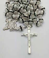 Silver and Black Rhinestone Catholic Rosary Beads
