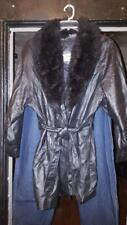 Women's Fitzwright leather coat with New Zealand Opossum fur collar black sz Xl