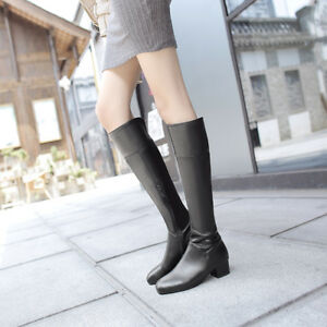Womens Zip Med Heel Block Synthetic Leather Knee High Boots Party Shoes US 3-13
