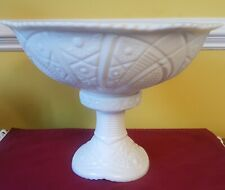 PUNCH BOWL WHITE MILK GLASS IMPERIAL CONCORD PATTERN THATCHER McKEE 2 pc 1950  S