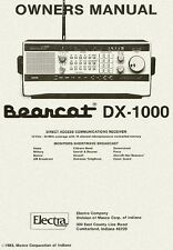 Bearcat DX-1000 CD OWNERS MANUAL Short Wave Scanner Radio Book Electra on CD