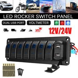 8 Gang 12V 24V ON-OFF Blue LED Toggle Switch Panel Marine Truck Camper Car Boat