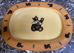 Big Sky Carvers Bearfoots Large Oval Serving Platter Bear Trout Discontinued New