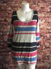 Free People Gray Black Pink Blue Striped Sweater Size XS/S