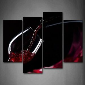 Framed 4 Pcs Red Wine Splash Wall Art Decor Painting Canvas Print Food Pictures