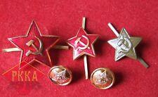 drei 3x Sowjet Armee Kokarde UdSSR Rote Armee Uniform Stern USSR Soviet Union
