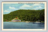 Clarksburg WV, Lake Floyd On US 50, Linen West Virginia Postcard