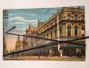 ANTIQUE VINTAGE PHOTO POSTCARD OLD Barrack Street PERTH WESTERN AUSTRALIA WA