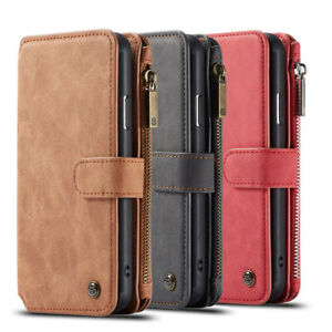 PU Leather Removable Protective Cover for iPhone Samsung Zip Wallets Back Shell