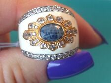 Yours by Loren Sterling Silver Sapphire White Enamel Multi Genuine Gemstone Ring