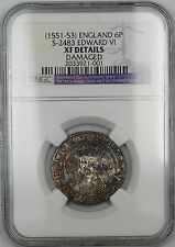 (1551-53)England 6 Pence Silver Coin S-2483 Edward VI NGC XF Details Damaged AKR