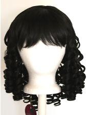 14'' Ringlet Curly Shoulder Length w/ Short Bangs Natural Black Wig Lolita NEW