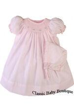 NWT Petit Ami Pink Bishop Smocked Baby Girls Dress Daygown Bonnet Preemie