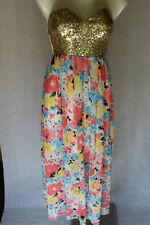 🐜 NO SIZE UNBRANDED GOLD SEQUINS MULTI FLORAL STRAPLESS MAXI PARTY DRESS