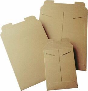 50 9 x 11.5  Kraft No Bend Tab Lock Mailers Rigid Flat Photo Document Paperboard