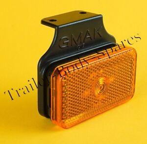 1 x Amber Side Marker Light on Bracket - Trailers & Horsebox