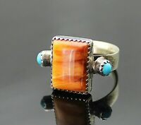 RUNNING BEAR SHOP VINTAGE GENUINE SPINY OYSTER TURQUOISE STERLING SILVER RING 8