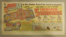 Quaker Cereal Ad: 5 Indian Headbands Premium ! 1930's 7.5 x 15 inches