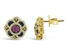 Le Vian® Earrings - Ceylon/Pink/Yellow Sapphire, White Diamonds - 14K Honey Gold