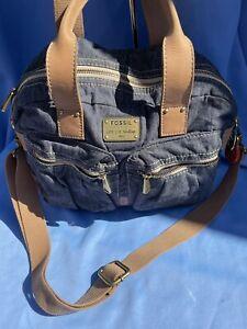 Fossil Vintage Suede Denim Double Hand Bag Shoulder Bag Incl Bag Charms Dust Bag