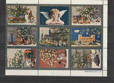 German Poster Stamp Block of 9 Christmas Zeppelin/ Dogs/ Elephant/ Ship/ Train