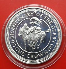 """Isle of Man: 1 Crown 1980 Silver, """"Epson Derby"""", #f1087, PP-proof, KM 63.a"""