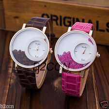 Fashion Women Bracelet Watch Leather Crystal Band Dial Quartz Analog Wrist Watch