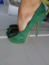 Joxy green high heels shoes size 4 fetish clubbing party faux suede