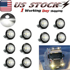 "10X Mini 3/4"" Round 3 Led Side Marker Bullet Light For Trailer Truck White 12V"