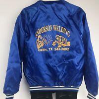 Vintage Blue Satin Bomber Baseball Jacket SZ M by Cardinal Anderson Welding