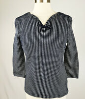 Talbots Women's Top in Navy Blue and White Boucle Knit SP Career Wear