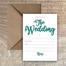 WEDDING INVITATIONS BLANK SIMPLE TEAL GREEN WATERCOLOUR PACKS OF 10