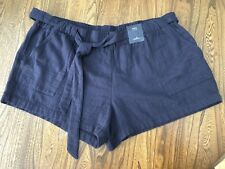 NEW Plus Size 22 M&S Navy Shorts Elasticated Waist Cotton Summer Rrp £19.50