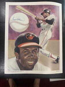 Frank Robinson Signed Lithograph Poster 1983 RT Handville Baltimore Orioles HOF