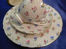 SHELLEY FLORAL CHINTZ   RIPON  FOOTED CUP,  SAUCER & PLATE   GOLD TRIM