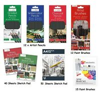 12 x Artist Pencils For Drawing Sketching Charcoal Watercolour Graded Pencil