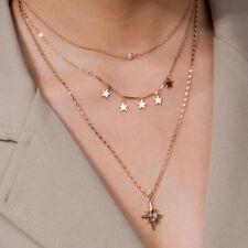 Collana da donna girocollo acciaio inox multistrato con stelle stelline 3 in 1
