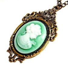 GREEN VICTORIAN STYLE CAMEO pendant rhinestone gothic necklace steampunk lady Z5