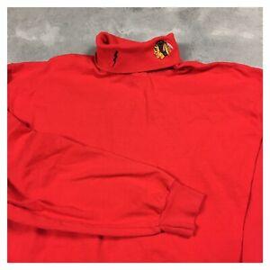 CHICAGO BLACKHAWKS 90s VTG PRO PLAYER turtleneck t shirt XL embroidered logo