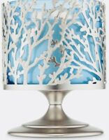 BATH BODY WORKS SILVER CORAL PEDESTAL LARGE 3 WICK CANDLE HOLDER SLEEVE 14.5OZ