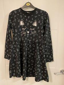 George Girls Leopard Cat Print Halloween Cotton Dress 11-12 Years - Worn Once
