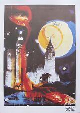 Salvador Dali MANHATTAN SKYLINE Facsimile Signed Limited Edition Lithograph Art